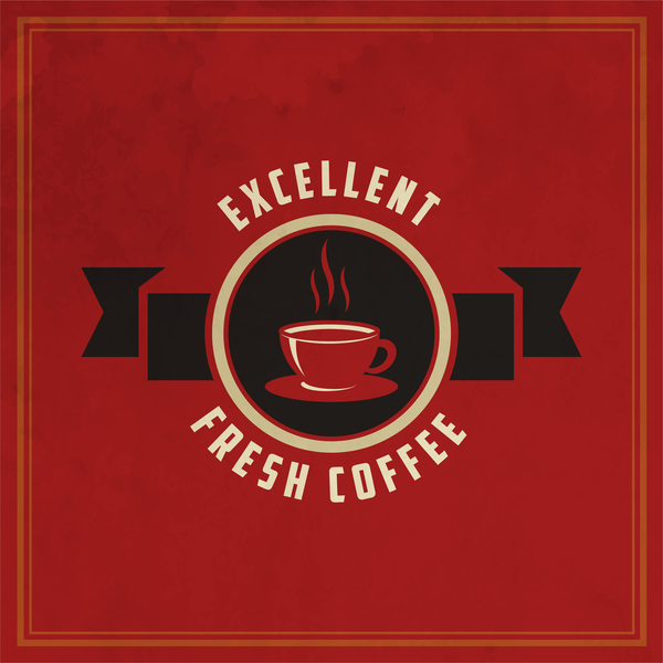 52dfdla5kko3f35 Retro coffee labels with red background vector 06