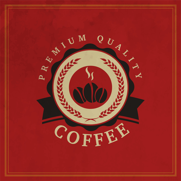 584yk3b4gvyf535 Retro coffee labels with red background vector 03