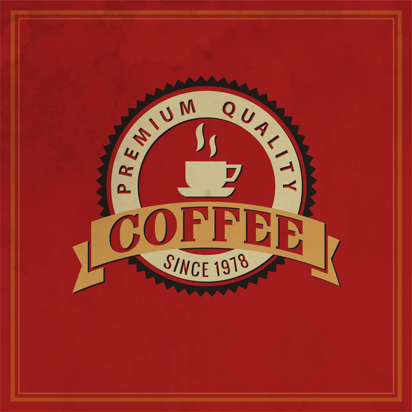 01wewucadrkkb36 Retro coffee labels with red background vector 01