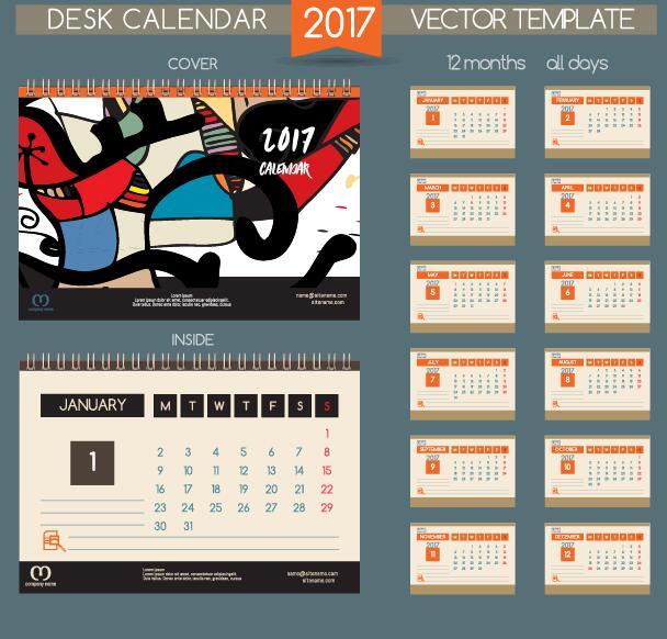 Retro font desk calendar 2017