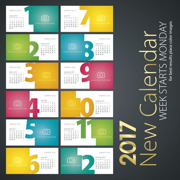 065qeq5hso2ps36 New calendar 2017 colorful white colored vector