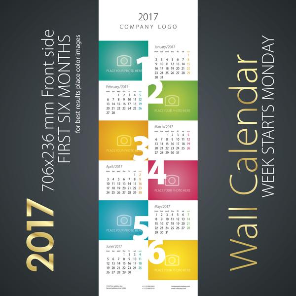 07onnaovldpmw36 Calendar 2017 first six month color vector