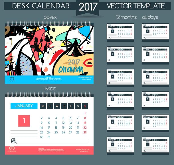 11kbe3sxxun1j36 Desk calendar 2017 vector retro template 05