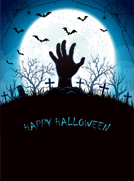 02al41c3eajbz37 Blue Halloween background with Moon and hand on cemetery vector
