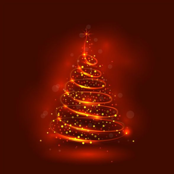 07nszawoabt1337 Abstract christmas tree with red shiny background vector