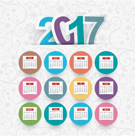 08iyxfffqaiua37 2017 calendar template with floral background vector