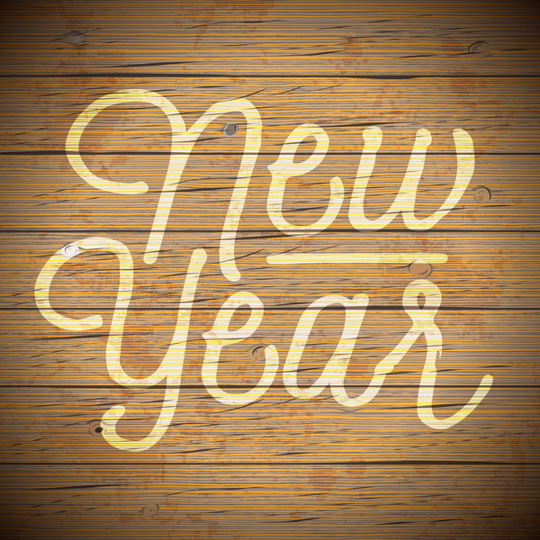 10utkizeeofzf37 New year with wooden background vectors