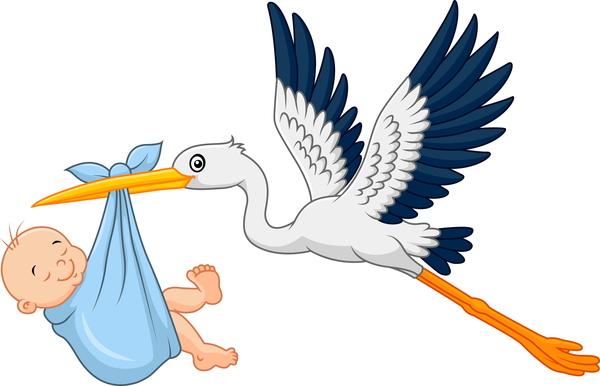 12ootwyeqpppq37 Cartoon stork with cute baby vectors 07