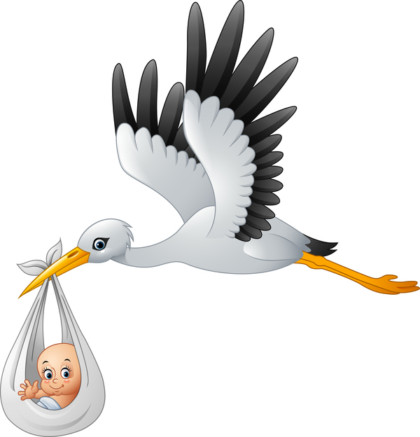 24me5wrvc0s5w37 Cartoon stork with cute baby vectors 03