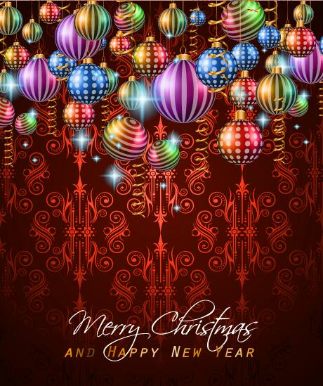 25beoqdxu32hn37 Christmas with new year background and beautiful baubles vector