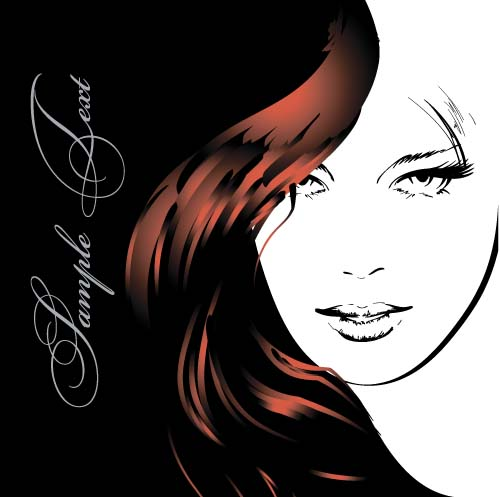 40yeaanfchmq137 Fashion girl hand drawing vectors 08