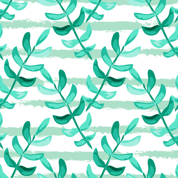 53fibdgsw1ewt37 Tree branches with leaves seamless pattern vector 03