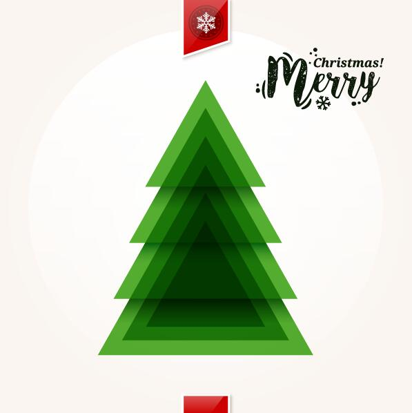 14q2anwq4bs0s38 Christmas greeting card with triangle Xmas tree vector 01