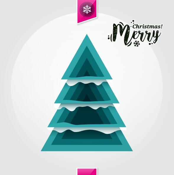 25t4e1q5jzjpy38 Christmas greeting card with triangle Xmas tree vector 03