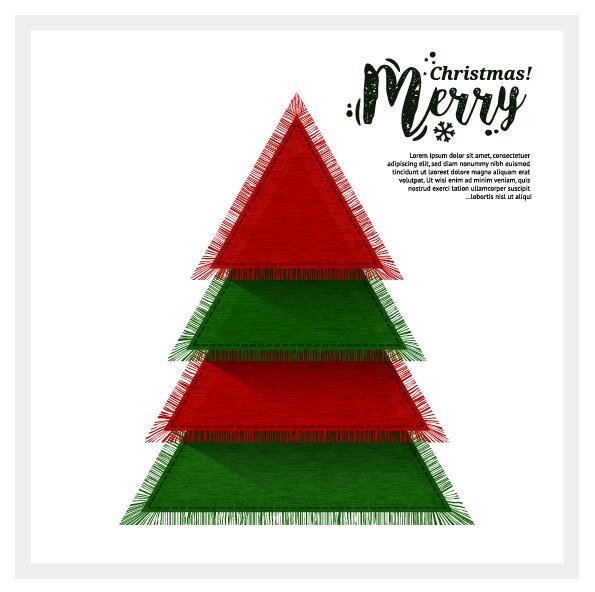 264afqocrbtrm38 Christmas greeting card with triangle Xmas tree vector 02