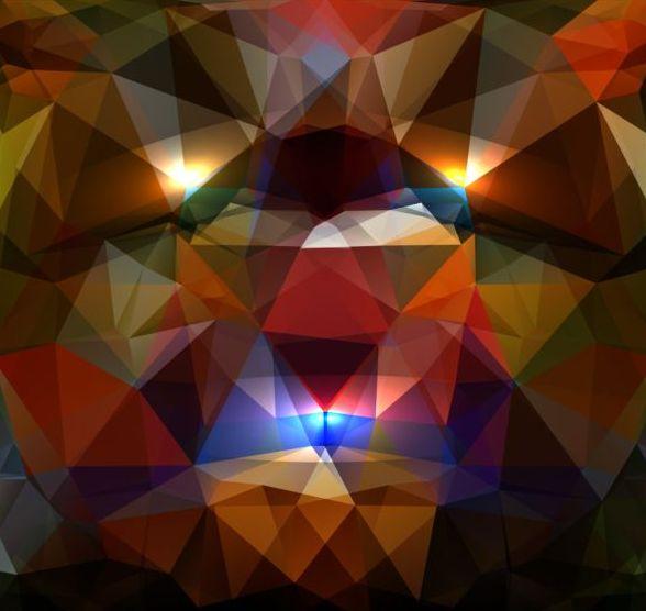 shiny polygon geometric colorful