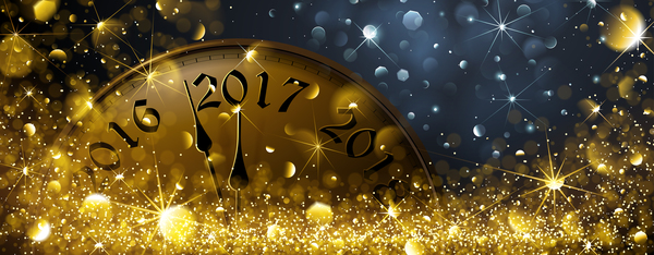 year new halation golden clock 2017