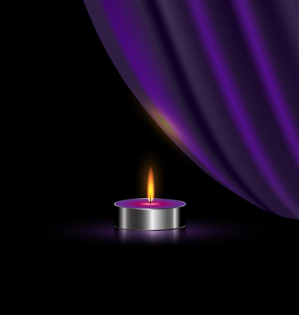 purple curtain candles