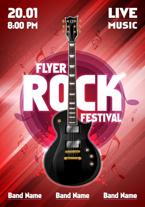 rock poster party guitar festival