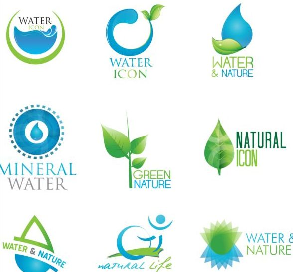 29y4v4ygphcha45 Water with nature icons vector set