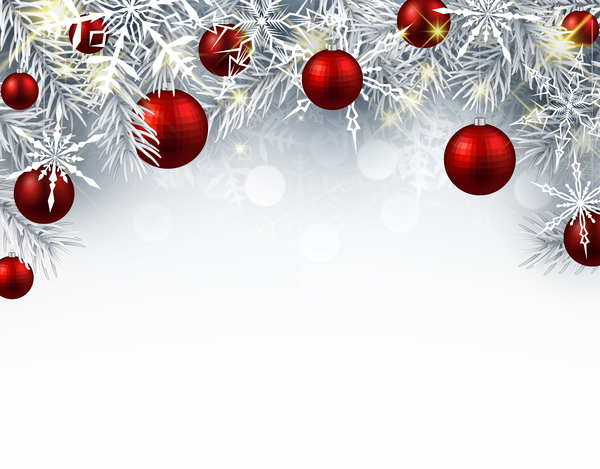 304greeuzvf4a45 Red christmas ball with tree branches vector card 02