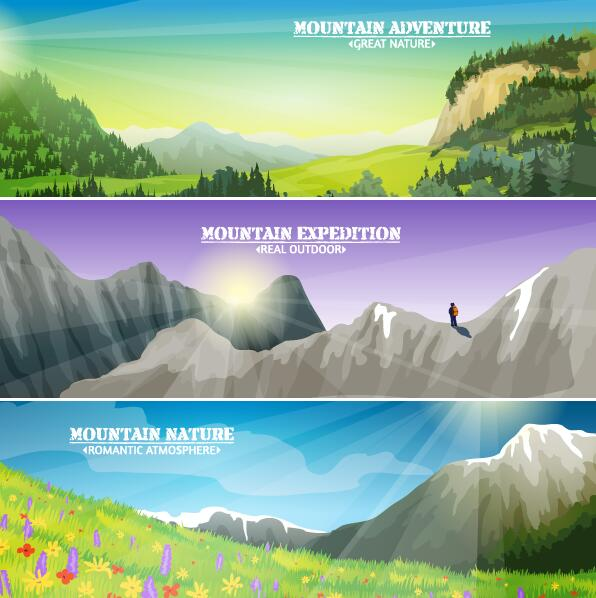 363crjfd0aqnr47 Mountains and nature landscape banners vector
