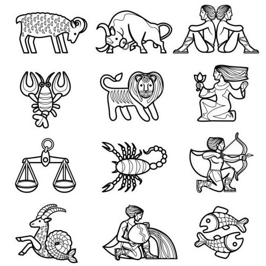 zodiac outlines icons
