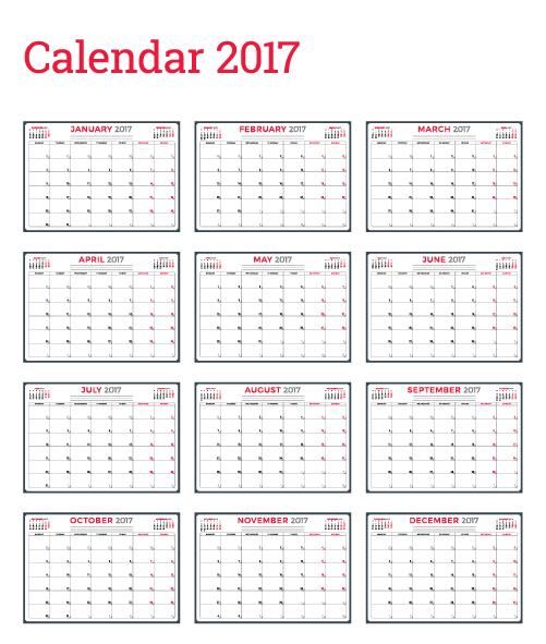02hodd4chs30050 Common 2017 Wall Calendar template vector 07
