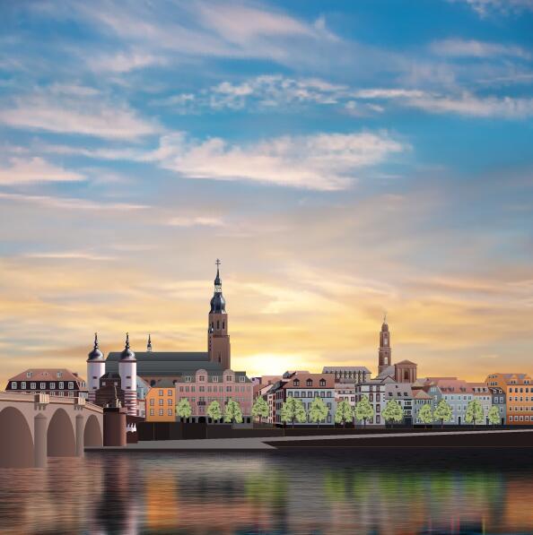 panorama morning Heidelberg
