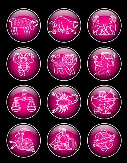 zodiac textured purple icons glass