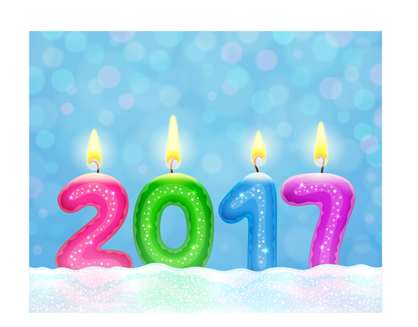 year new candle 2017