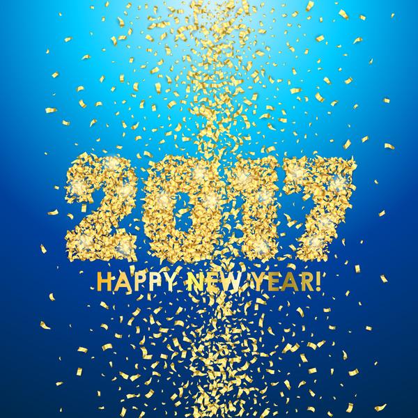 year new golden confetti blue 2017