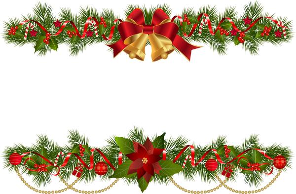 fir decor christmas branches border bell
