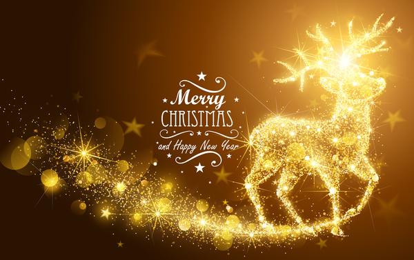 shining gold deer christmas