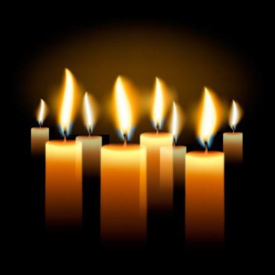 shining candle black