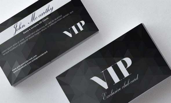 vip polygon front card black back