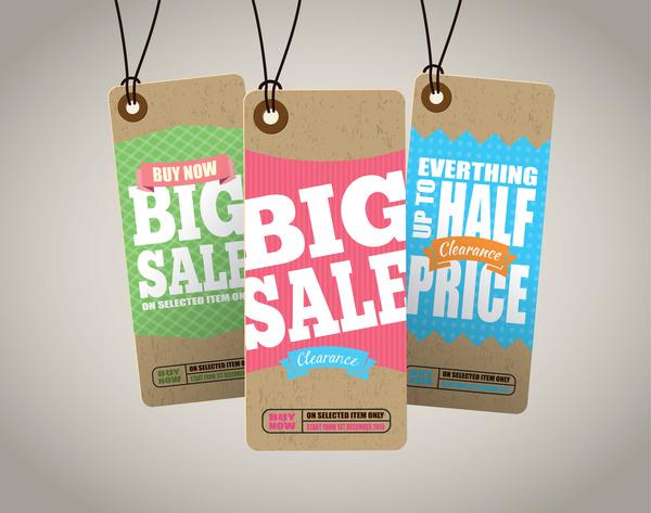 tags sale Retro font cardboard