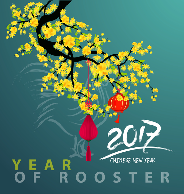 year rooster new green flowers chinese 2017