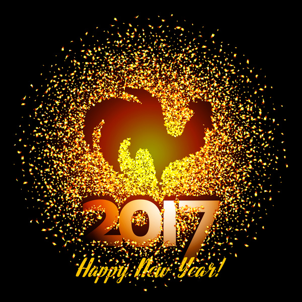 38g1zphrhxgz356 Rooster new year 2017 design vectors