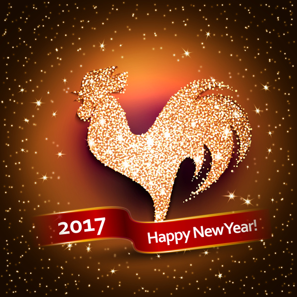 10ydxch4czo2058 New year 2017 of rooster shiny vectors background