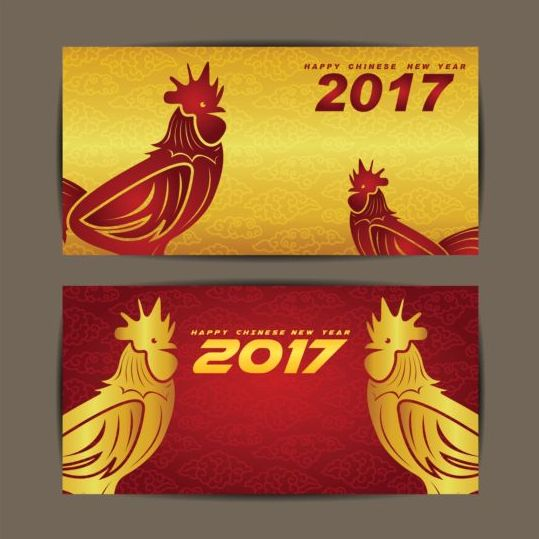 19detwyxf00i058 Chinese new year 2017 of rooster vector cards 06