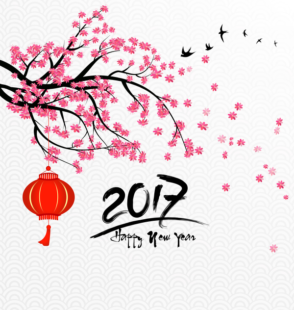 Plate Web Graphics 2017 Chinese New Year Background With Flowers Vector 02