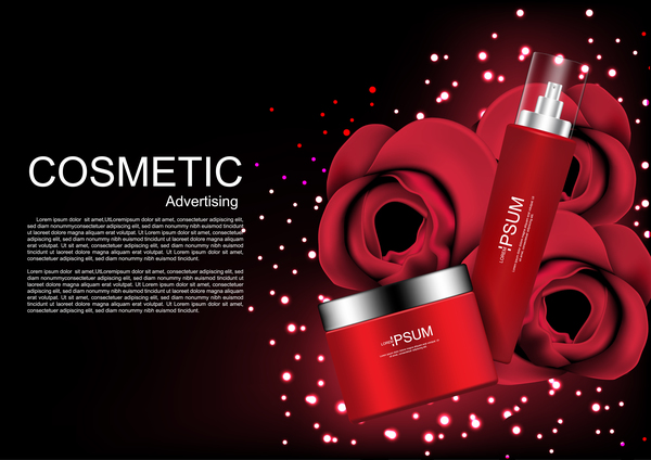 Cosmetic ads poster whitening cream with rose vector 0320 Cosmetic ads poster whitening cream with rose vector 03