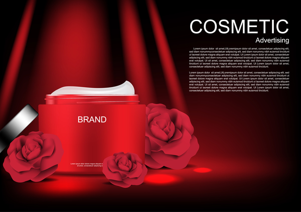 Cosmetic ads poster whitening cream with rose vector 0751 Cosmetic ads poster whitening cream with rose vector 07