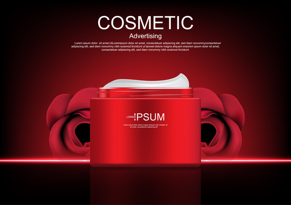 Cosmetic ads poster whitening cream with rose vector 0849 Cosmetic ads poster whitening cream with rose vector 08