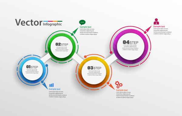 Modern circles infographic vector template 0142 Modern circles infographic vector template 01