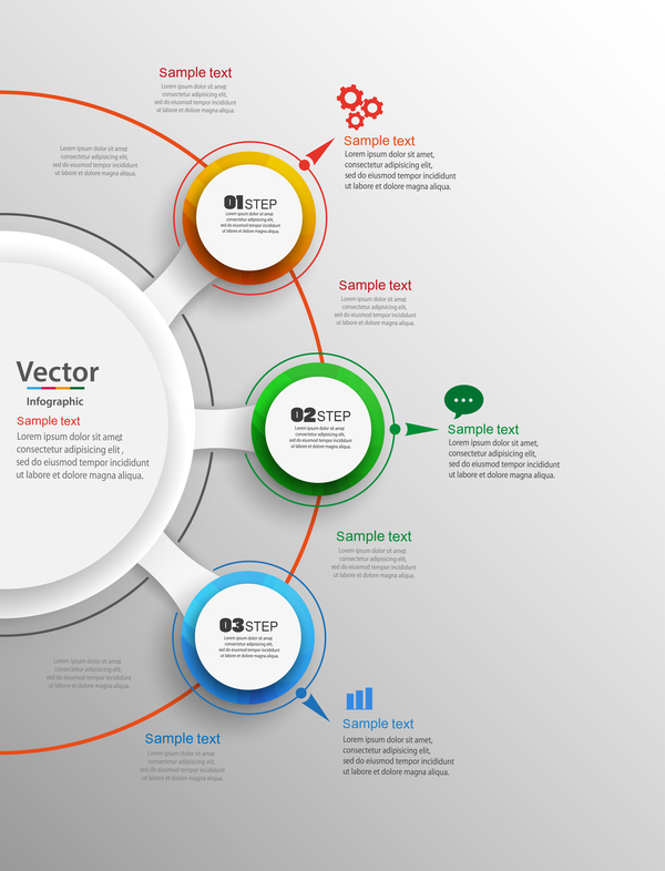 Modern circles infographic vector template 0233 Modern circles infographic vector template 02