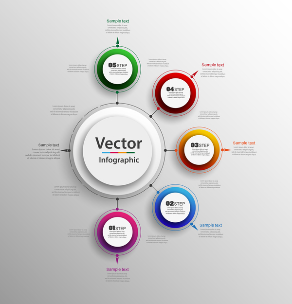 Modern circles infographic vector template 0607 Modern circles infographic vector template 06